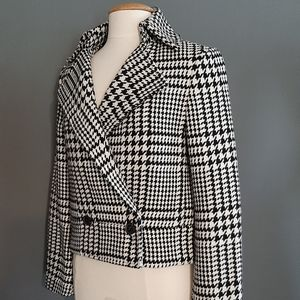 Liz Claiborne Houndstooth Longsleeve Collared Coat